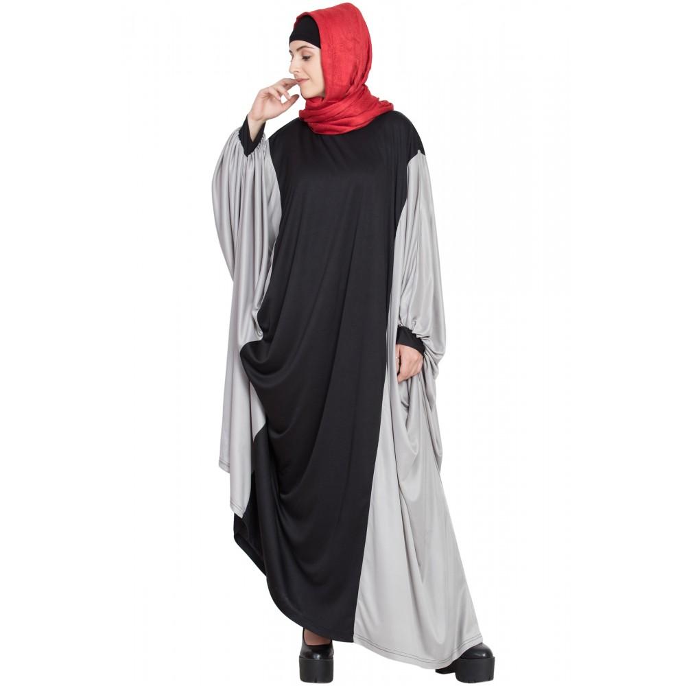 Nazneen Kaftan Style Contrast Black Grey Irani Abaya