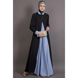 Nazneen Contrast Yoke Black/Sky Blue Casual Abaya