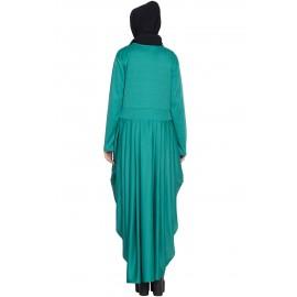 Nazneen Pleating At Waist Stretchable Knits Travel Abaya