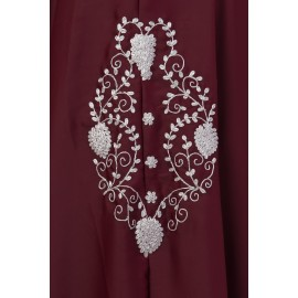 Nazneen Silver Zari Embroidered Irani Nida Kaftan