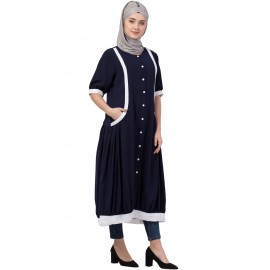 Nazneen Contrast Band At Bottom And Sleeve Front Open Tunic
