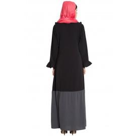 NAZNEEN Contrast Bottom Frilled Casual Abaya