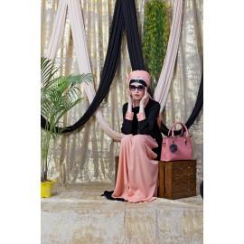 Nazneen Contrast Yoke Black/Peach Casual Abaya