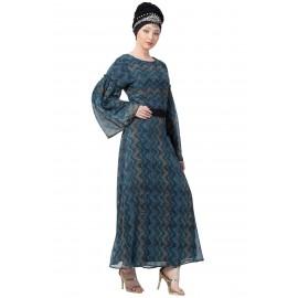 Nazneen Zig Zag Printed Bell Sleeve Abaya