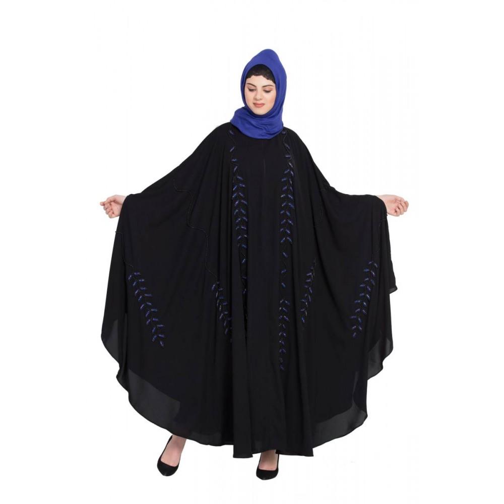 Nazneen Black Blue Hand Work Irani Kaftan