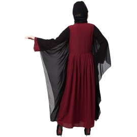 Nazneen Contrast Butterfly Sleeve Pleated Abaya