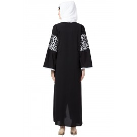 Nazneen Sleeve And Front Embroidered Front Open Abaya