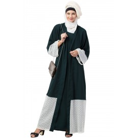 Nazneen Bottom and Sleeve embroidered fabric with extra Jacket at front Abaya